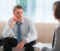 man seeking addiction treatment through individual therapy